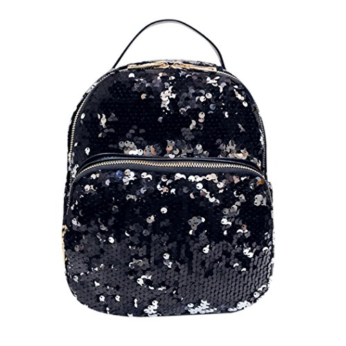 Bolsos Para mujer, RETUROM Chica de estilo Cool lentejuelas viaje escuela Mochila bolsa (Negro)