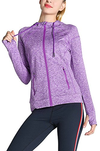 Simgahuva Damen der Aktiven Kapuzenpulli Training Läuft bis Activewear Zip - Jacke Lila S (Activewear-jacke Farbe)