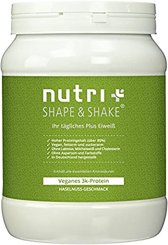 Nutri-Plus Shape & Shake Vegan Haselnuss 500g - Veganes Eiweißpulver ohne Aspartam, Laktose & (Nutri Supplement)