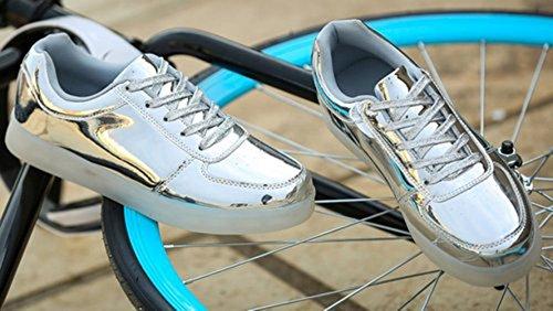 [Present:kleines Handtuch]JUNGLEST® 7 Farbe Wechseln USB aufladen LED-Licht Leuchtend Mode Sportschuhe Freizeitschuhe Outdoorschuhe Laufschuhe Schuhe Sneaker fü Silber