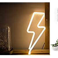 Luz de noche de neón Luz LED en forma de rayo Batería y USB Power Iluminación interior Lámparas de mesa para la sala de estar Dormitorio Fiesta Navidad Regalo de cumpleaños de la boda