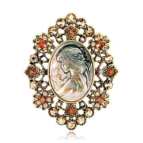 Scrox 1 Brosche Avatar Schönheit Strass Pin Badge Kleidung und Zubehör für Tasche Geschenke Weihnachten Knopfleiste Hochzeit 5 x 4 cm, Gold, 5 * 4CM (Zubehör Avatar Kostüm)