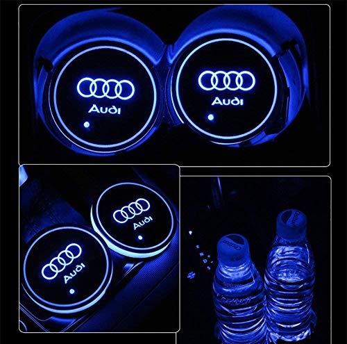 PRXD 2pcs LED Auto Cup Halter Matte Pad Wasserdicht Flasche Getränke Untersetzer für Universal Auto zur Autodekoration Stimmungslicht Innenraumbeleuchtung wasserdicht (au-di)