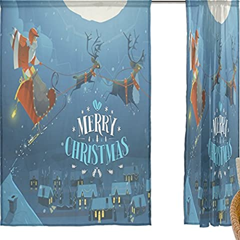jstel Joyeux Noël Lot de 2voile rideau fenêtre, neige Silent Night Père Noël Père Noël Elk, en tulle Transparent Rideau Drapé Lit 139,7x 198,1cm deux panneaux de, Polyester, bleu, 55x78x2(in)