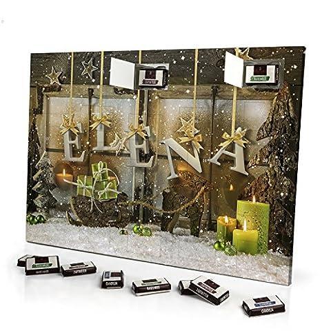Adventskalender mit NamenElena - gefüllt mit Schokoladen-Füllung - personalisiert mit Namens-Motiv Weihnachtsbuchstaben - Schoko-Kalender, Weihnachtskalender, (Schokolade Mit Namen)