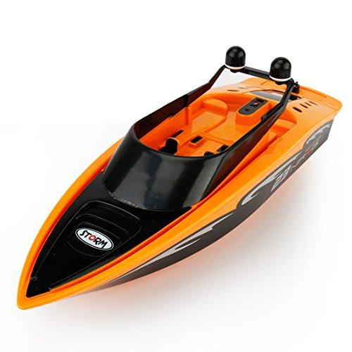 RC Boot, Foxom 30M Ferngesteuert Schnellboot Elektrisch RC Rennboot Spielzeug für Kinder über 8 Jahre (Orange)