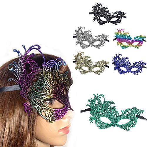 Halloween Neid Kostüm - ZUEN 6 STÜCKE Spitze Maske, Maskerade Maske Frauen Karneval Maske Halloween für Maskerade Spitze Augenmaske Venezianischen Kostüme Vergoldung Sexy Party Masken