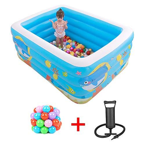 YANGMAN Baby Aufblasbare Pool Badewanne Tragbare Aufblasbare Schwimmbecken Kinder Wasser Spielen Spaß Reisen Luftdusche Becken Sitzbäder mit manueller Luftpumpe und 100 Marine Balls, 70x55x29,5 Zoll