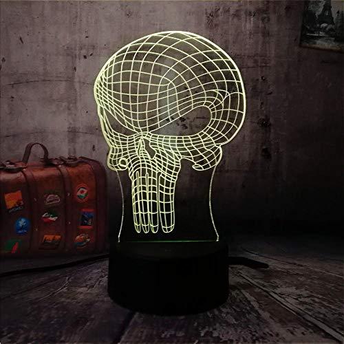 3D Abbildung Hero Schädel Led Tischlampe Nachtlicht Wohnkultur 7 Farbe Atmosphäre Touch Schalter -