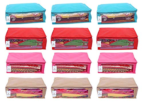 Kuber Industries 12 Piece Non Woven Saree Cover, Multicolour