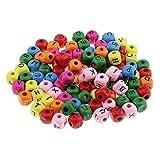 Homyl 100x Bunte Holz Buchstaben Perlen Zum Auffädeln Gemischte Alphabet Perlen A-Z Würfelperlen für Armbänder Auffädeln, Halsketten, Schlüsselanhänger