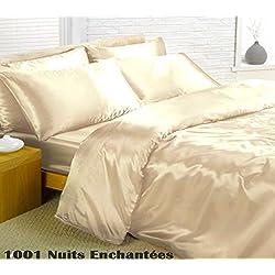 Crema de satén rey funda nórdica, sábana bajera y 4 fundas de cama