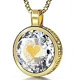 Vergoldete Ich Liebe Dich Halskette Graviert in 120 Sprachen mit 24k Gold auf 16mm Zirkonia Anhänger in Weiß, 45cm Gold-filled Kette