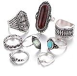 Swallowuk Damen Böhmen Vintage Ringe Set mit Türkis 8 Stück (Silber)