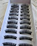 10 Pairs Black Long False Eyelashes Eye Lashes 111 Thick Dense Charming Natural Makeup Black Curled Long Bushy Soft False Eyelashes- MZZH06001