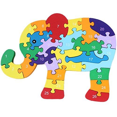 JinZhiCheng Bloques de madera para elefantes, juguetes, alfabeto, número de construcción, puzzle,...