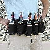 Soda Abreuvoir de bière Ceinture Holster Eau Potable 6Boissons Peuvent Holster avec Boucle de Transport pour extérieur, Noir