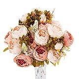Emorias Artificielle Bouquet Rose,12 têtes de Fleurs artificielles Bouquet Rose Bouquets Nuptiale artificielles en Soie pour la Maison, Jardin, Fête,Mariage Déco (Rose d'automne) - sans Vase