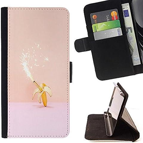 Momo teléfono móvil/funda de piel cubierta de la caja con ranuras para tarjetas–Magic Banana Cumpleaños Rosa Peach Fuegos Artificiales–Samsung Galaxy S5V SM-G900