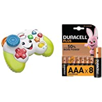 Fisher-Price FWG12 Game and Learn Controller, Teaching First Words, Letters, Numbers, Colours and Shapes with Songs and Sounds, 6 Months + Duracell Plus AAA Alkaline Batteries, 1.5 V, Pack of 8