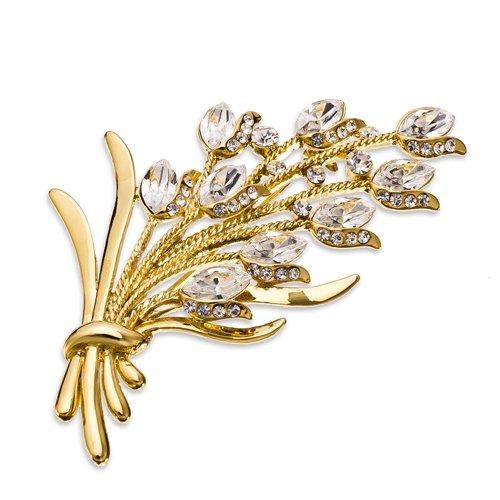14K oro, argento rodiato Swarovski GRANDI stile vintage con mazzo di fiori spilla, Janeo Jewels, oro diamante trasparente, colore: Clear/Pink/Silver, cod. 10229-Clear Diamond