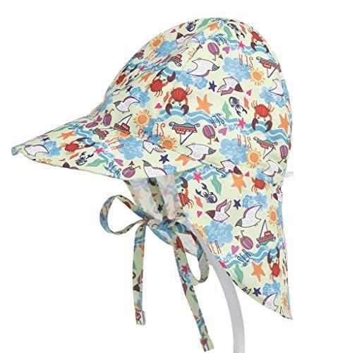 Riou Kinder Baby Mütze Jungen Mädchen Sommer Sonnenhüte Flapper mit Bindebändern und Nackenschutz für Outdoor Strand Sonne UV Schutz vor Sonnenregen Kappe Hüte Caps (Free Size, Blau B) (Safari Baby Kostüm)