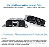 60m/190ft 1080P HD HDMI Network Extender Over Single Cat6/6a/7 Ethernet Cable with IR Remote Control
