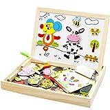 forepin Magnetisches Holzpuzzle Tafel Doppelseitige Holzspielzeug Legespiel Lernspiel Puzzle aus Holz Lernspiel Intelligentes Spiel ab 3 Jahre Kinder