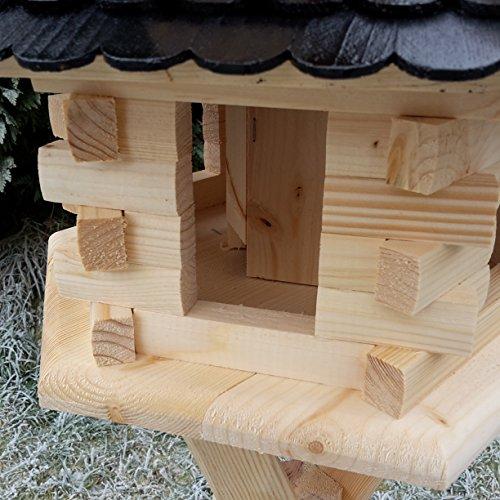 Qualitäts Vogelhaus mit Holzschindeln 6 Eck lasiert Vogelhäuser-Vogelfutterhaus großes Vogelhäuschen-aus Holz Wetterschutz (Dunkelbraun) - 4