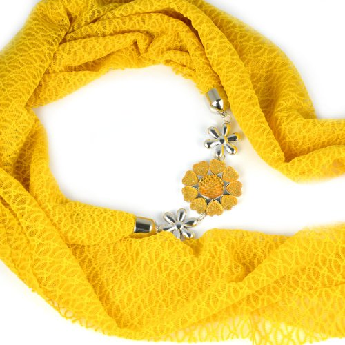 Estate Funky Cuore Fiore Ciondolo Snood sciarpa infinity infinito collana, nl-2089 C Gold XXL