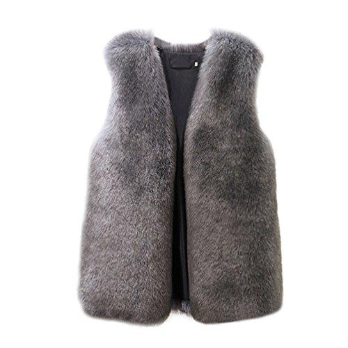 Chengyang donna gilet di pelliccia sintetica cappotto senza maniche giubbotto lungo giacca trench (scuro grigio, xl)