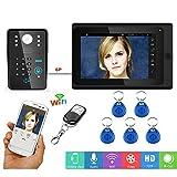 xc-2710 Sistema citofono Campanello videocitofonico WiFi da 7 Pollici, Password RFID con Telecamera per Visione Notturna cablata 1000TVL, Supporto sblocco/Registrazione App remoto/istantanea