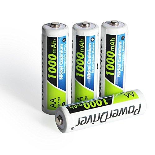 PowerDriver 1000mAh AA NiCD Ni-CD Batteria Ricaricabile per macchine fotografiche digitali, telecomandi (Confezione da 4 Pezzi)