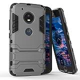 Funda para Motorola Moto G5 (5 Pulgadas) 2 en 1 Híbrida Rugged Armor Case Choque Absorción Protección Dual Layer Bumper Carcasa con pata de Cabra (Gris)
