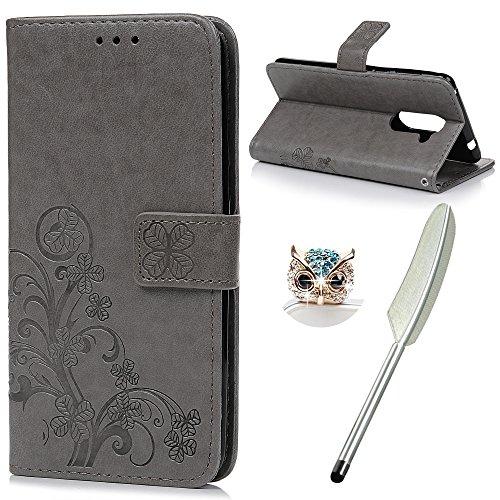 YOKIRIN Huawei Honor 6X Flip Hülle Huawei Honor 6X Wallet Case Bookstyle Flipcase Lederholster Schutzhülle PU Leder Handytasche Brieftasche Geldbörse Klapptasche Ständer Tasche Glücksklee Gray