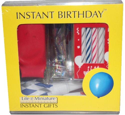 Miniatur Geburtstags Set HAPPY BIRTHDAY mit Kerzen, Luftballons, Lufttröten, Konfetti, Geburtstagskarte komplett in Klarsicht-Geschenkpackung