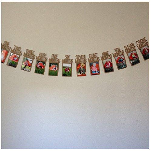 Pared de la foto del bebé, Ularma Mi primer año de bebé marco de recuerdo Regalos de cumpleaños para niños decoraciones 1-12 mes foto banner mensual pared de fotos 14X23cm