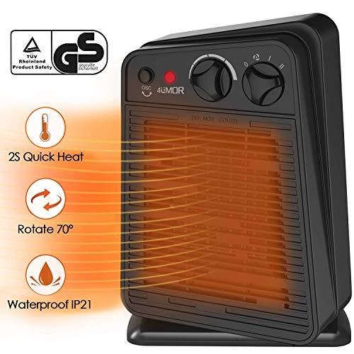 4UMOR Calefactor Cerámico de Bajo Consumo, Calefactor Baño 750W/1500W, Protección contra Vuelcos, Certificación de Seguridad Europea, Ideal para Bebé, Personal o Familia, Vestirse Desvestirse