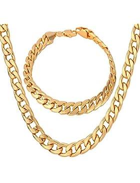 Eyesworld Edelstahl Weizenkette Halskette für Männer Frauen Halskette Armband Schmuck Set 10mm in Breite, Armband...