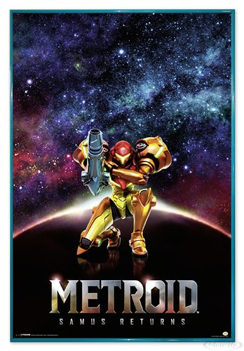 Close Up Metroid Samus Returns Poster (94x63,5 cm) gerahmt in: Rahmen türkis