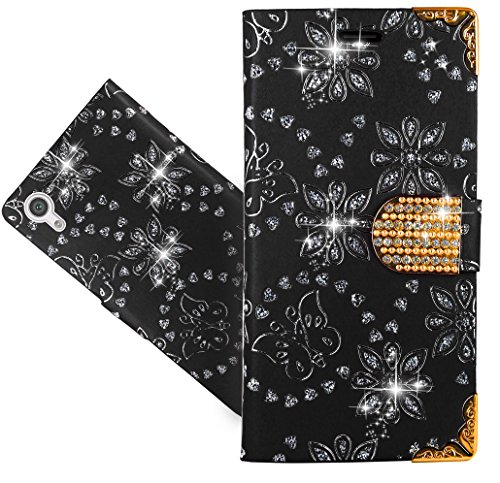 Sony Xperia XA1 Handy Tasche, FoneExpert® Bling Luxus Diamant Wallet Case Flip Cover Hüllen Etui Hülle Ledertasche Lederhülle Schutzhülle Für Sony Xperia XA1