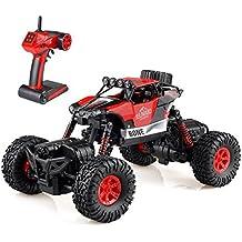 GizmoVine RC Coche Teledirigido RC Car 1/16 Off-road Rock Crawler 2.4GHZ 4WD Coche Escalada 4 Modo de Dirección Juguete Impermeable (Rojo)