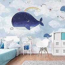Chan-Mei 3D grande murales di mediterranea Balena Blu sfondo Background bambini Carta da parati 350cmX300cm