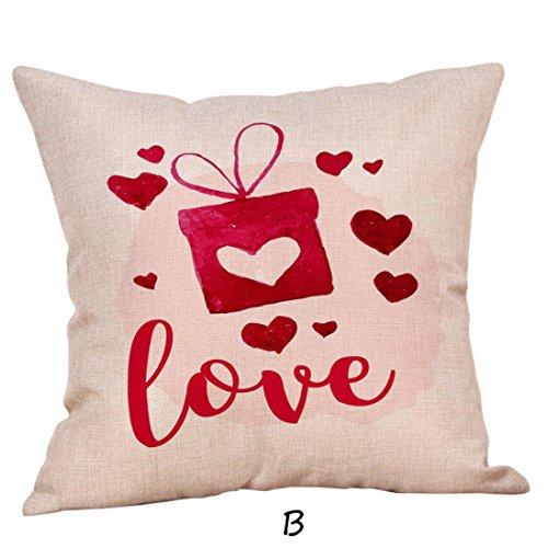 Jaminy Happy Valentine Kissen Taschen Leinen Sofa Kissen Abdeckung Home Decor Kissen Tasche (B) (Valentine Quadratisch Teppich)