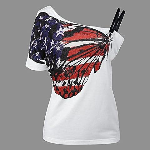 WHTLL-Damen-europäisches Schmetterlings-Druck-Unterhemd-BaumwollT-shirt, Flagge der Vereinigten Staaten, Xxxl