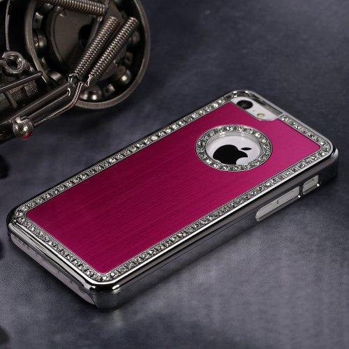 Qualité qualité luxe Bling iPhone 6plus qualité Qualité Luxe Cristal Diamant Bling Cover Housse Coque rigide à paillettes Étui (Rouge) pour iPhone 6Plus