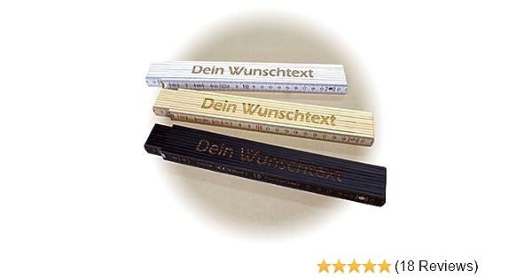 Holz-Gliederma/ßstab 2 Meter, einseitig beschriftet Zollstock BEIGE mit Lasergravur