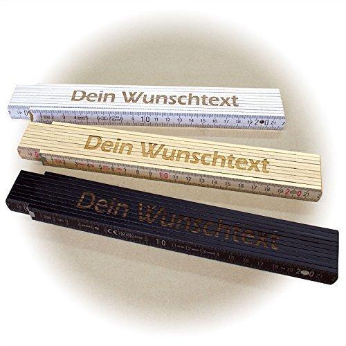 Holz-Gliedermaßstab / Zollstock WEISS mit Lasergravur (2 Meter, einseitig beschriftet)