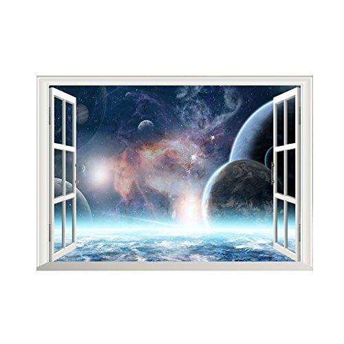 Winhappyhome Planet Cosmic Falso Finestra Adesivi Da Parete Per La Camera Da Letto Soggiorno Coffee Shop Sfondo Decalcomanie Decorative Smontabili