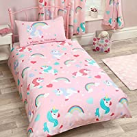 I Believe in Unicorns Single Duvet Cover and Pillowcase Set Pink Bedding New